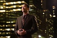 Japanese businessman at night