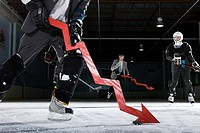 Businessmen playing ice hockey (thumbnail)