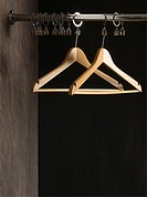 Clothes hangers in closet