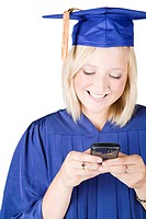 Graduating girl with cellphone