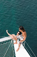 Young couple on a catamaran