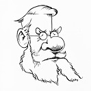 Alfred Wallace 1823_1913. Caricature of the British naturalist Alfred Russel Wallace, showing him with a large nose and bushy facial hair. Wallace org...
