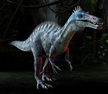 Suchomimus dinosaur under moonlight in a prehistoric jungle, computer artwork. This bipedal spinosaurid dinosaur is known from fossils discovered in t...