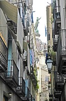 Narrow lane, gothic quarter, Barcelona, Catalonia, Spain