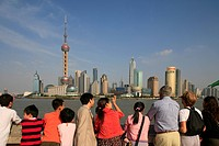 Tourists enjoy sightseeing at the Bund, Shanghai, China