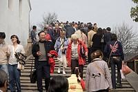 Fangsheng Bridge full of tourists, Zhujiajiao, China