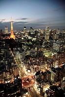 Japan, Tokyo, skyline at night, general aerial view, Tokyo Tower