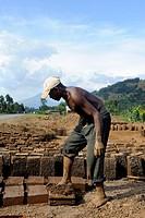 Man at work, making bricks for houses, Rwanda, Africa