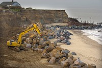 BUILDING SEA DEFENCES. Happisburgh, Norfolk, UK