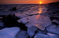 Icy Seashore at Sunset, Öresund, Sweden
