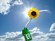 Green gas pump with sunflower at end of nozzle (thumbnail)