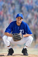 Portrait of smiling baseball player