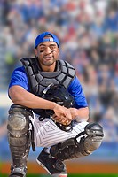 Portrait of smiling baseball catcher (thumbnail)
