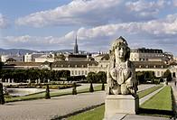 Sphinx in Belvedere garden with view to the castle, Belvedere, Vienna, Austria