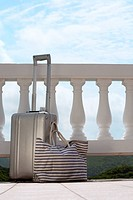 Suitcase and handbag by railings