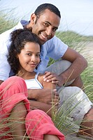 Portrait of couple sitting on beach