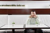 Businessman waiting in restaurant