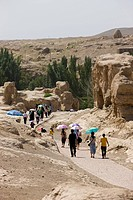Tourists at Jiaohe Ruins, Turpan, Xinjiang Uyghur Autonomy district, China