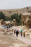 Tourists at Jiaohe Ruins, Turpan, Xinjiang Uyghur Autonomy district, China