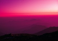 Himal Ridge Nepal, view of sunset over hills