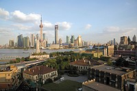 Bird´s eye view of Pudong and Puxi from Sichuan Road C., Shanghai, P. R. China