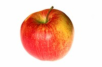 Red yellow apple, close up, cut out