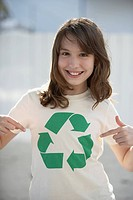 Girl Wearing T-Shirt with Recycling Symbol