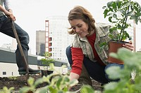Woman Planting Roof Garden