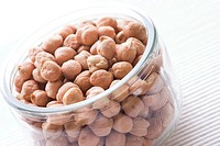 Chick peas on white background