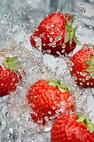 Strawberries Splashed with Water