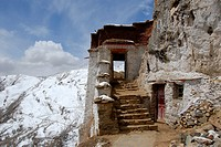 Tibetan Buddhism stairs and entrance to the temple Drak Yerpa Tibet China