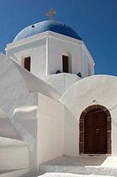Dome of a church, Pyrgos, Santorini, Cyclades, Aegean Sea, Greece