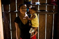 Woman, Children, Terra Preta Community, Cuieiras River, Amazônia, Manaus, Amazonas, Brazil