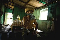 House, Person, Jaraqui Community, Negro River, Manaus, Amazônia, Amazonas, Brazil