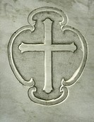 Cross relief on marble gravestone