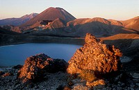 Blue Lake and Mount Ngauruhoe Tongariro National Park New Zealand