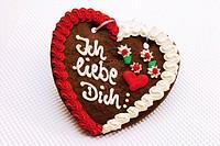 Gingerbread heart - I love you (German: Ich liebe dich)