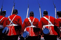 The Fort Henry Guard, Upper Canada Village, Morrisburg, Ontario, Canada. Upper Canada Village is a heritage park on the banks of the St. Lawrence Rive...