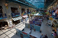 Interior of The Forks Market during a photography exhibition, The Forks, a National Historic Site, Winnipeg, Manitoba, Canada