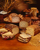 Loaves of Sliced Bread, Nuts and Grains
