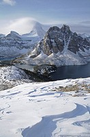The Nublet in winter, Mount Assiniboine and Sunburst Peak, Mount Assiniboine Provincial Park, Rocky Mountains, British Columbia, Canada