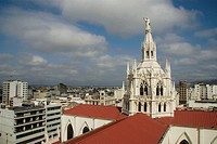 Ecuador. Guayaquil city. Metropolitan Cathedral ( 1924-37 ). Neogothic stile. Central dome and the City of Guayaquil