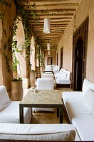 Morocco, Marrakesh, traditional restored riad Caravan Serai,  interior courtyards with arcade