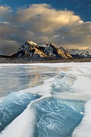 Frozen Abraham Lake in winter, Mount Ex Coelis, Bighorn Wildland, Alberta, Canada