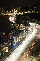 Sweden, Sodermanland, Stockholm, street illuminated by light trails at night