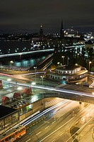 Sweden, Stockholm, Slussen, city at night, long exposure
