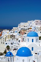 Blue dome and bell tower of a church, view of Oia, Santorin, Santorini, Cyclades, Greece, Europe