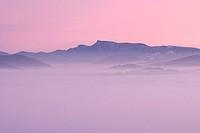 Klak peak, Mala Fatra protected landscape area, from Kremeniste hill, Strazovske vrchy protected landscape area, Slovakia, Europe