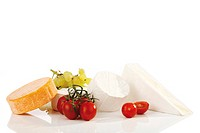 Camembert, assorted cheese, tomatoes and grapes