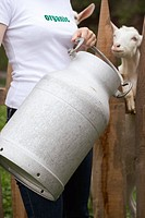 Woman with milk can in front of goat stall